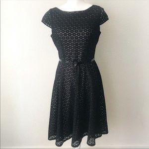 Kasper Black Beige Lace Fit and Flare Formal Dress
